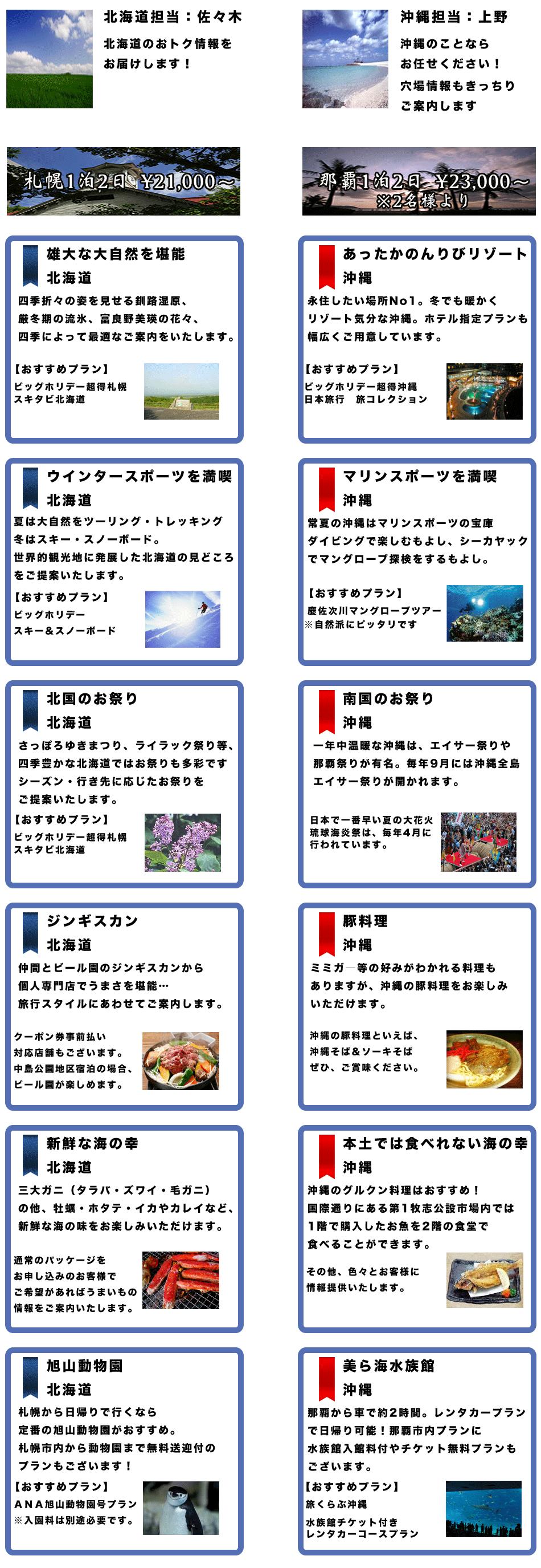北海道と沖縄の魅力